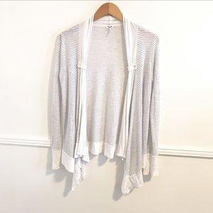 Splendid medium grey striped open front cardigan